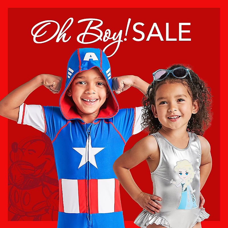 Oh Boy! Sale Boy in Captain America swimwear Girl in Frozen swimsuit