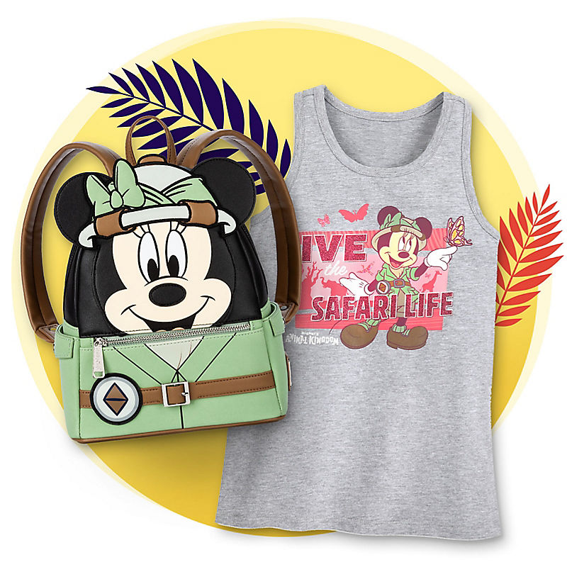 Minnie Mouse tanktop and mini backpack with safari theme
