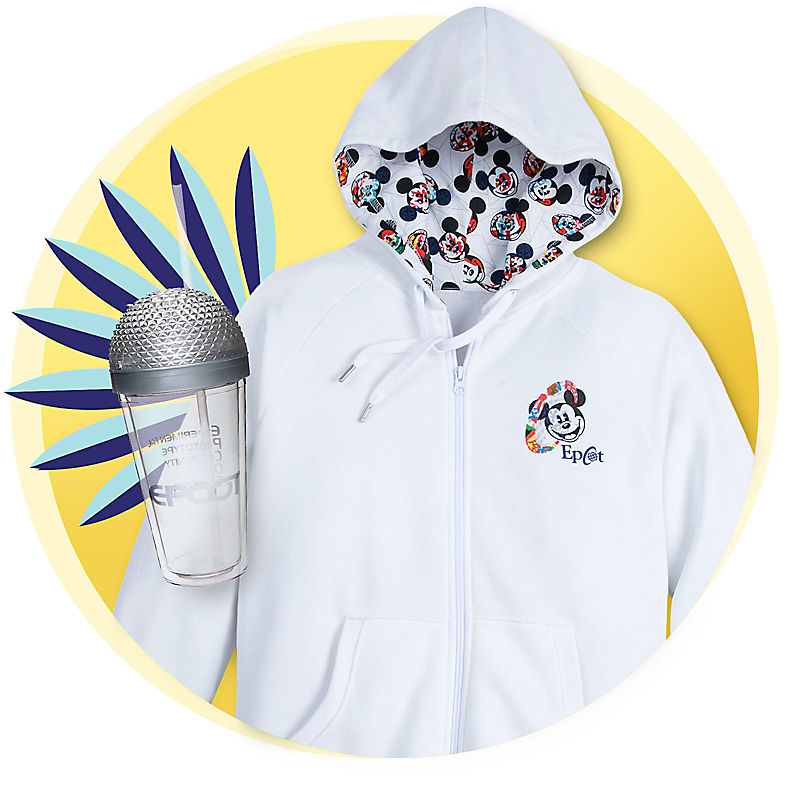 Mickey Mouse Epcot hoodie and tumbler with Spaceship Earth top
