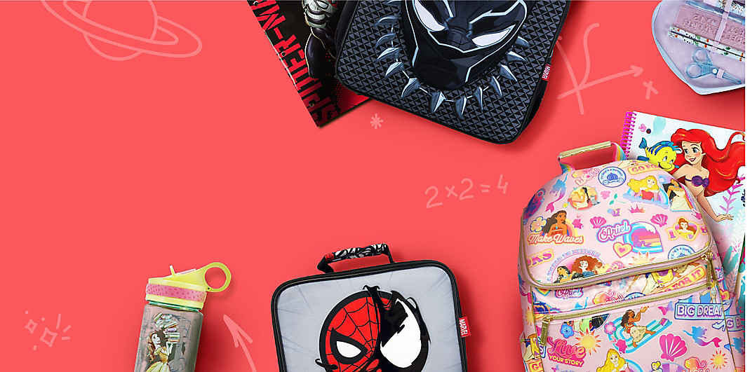 Character backpacks, lunch boxes, water bottle, notebooks and stationery