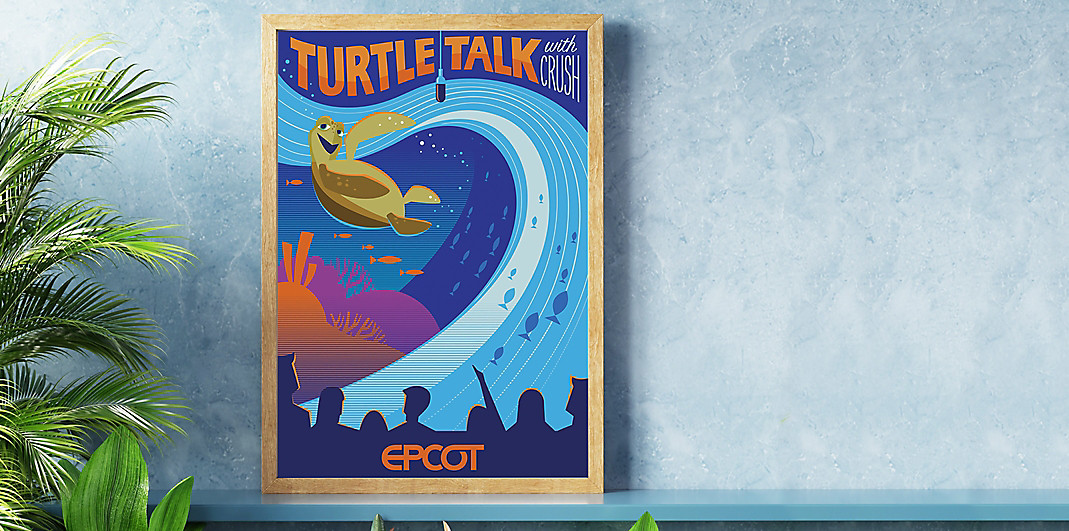 Serigraph artwork inspired by the Turtle Talk with Crush attraction at Epcot