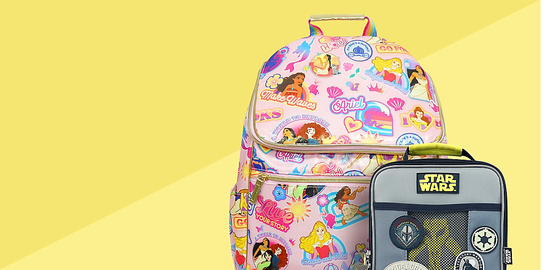 Disney Princess backpack and Star Wars lunch box