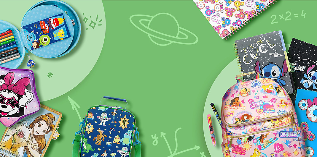 Character backpacks, lunch boxes, stationery and notebooks