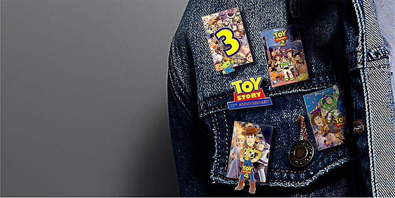 Toy Story pins on a denim jacket