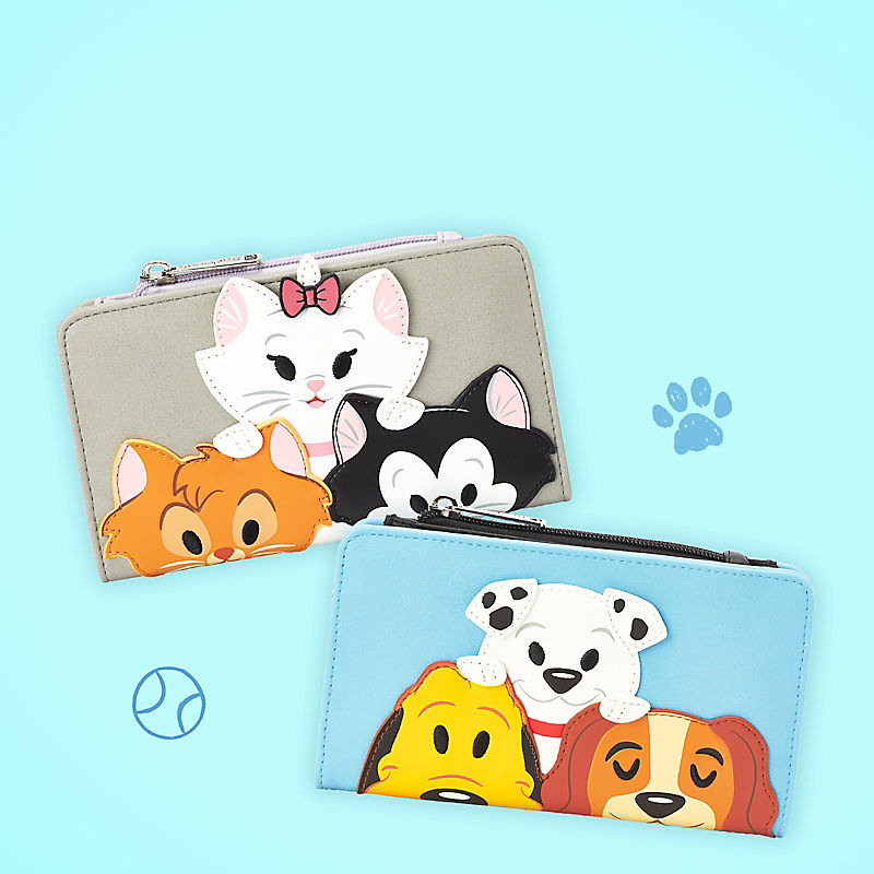 wallet featuring famous Disney Cat and Dog characters