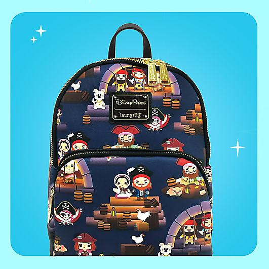 loungefly backpack featuring characters from Pirates of the Caribbean