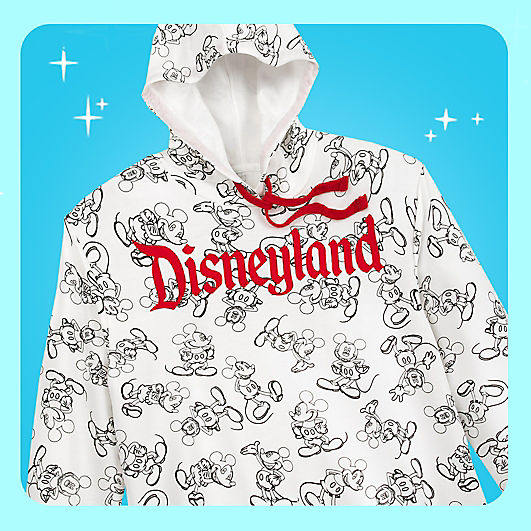 sweatshirt with the disneyland logo and sketches of mickey mouse