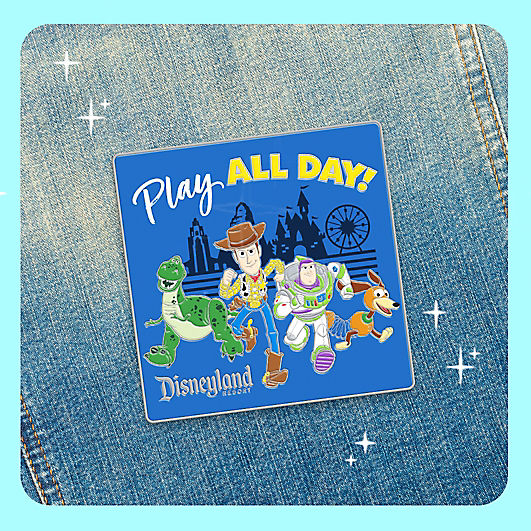 "Pin that says ""Play All Day!"" with Woody, Buzz Lightyear, and Rex from Toy Story"