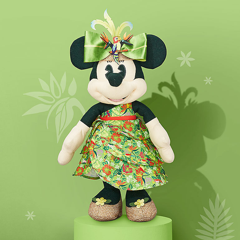 Minnie plush with The Enchanted Tiki Room design