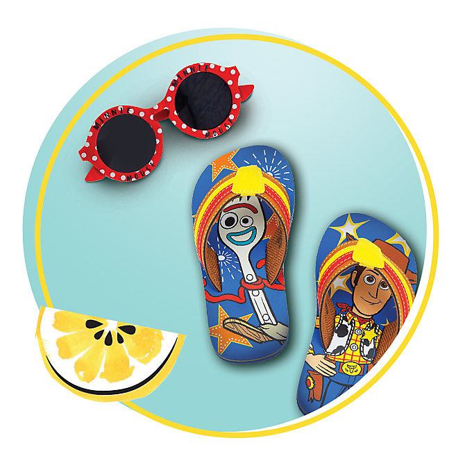 Minnie sunglasses, Toy Story flip flops