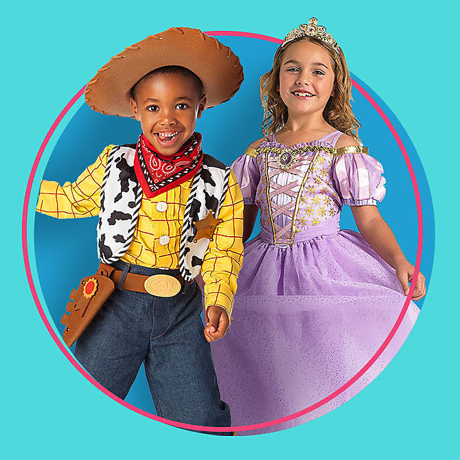 Ready. Set. Summer Sale Boy in Woody costume, girl in Rapunzel costume