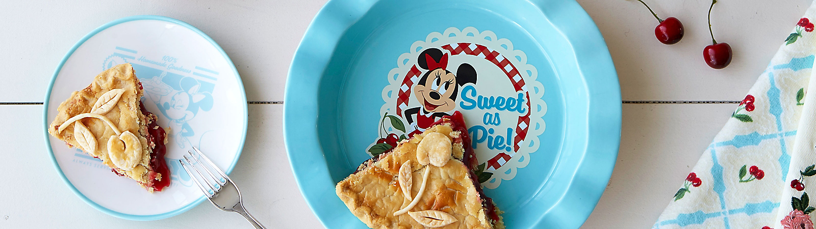 Pie slices on Mickey and Minnie plates