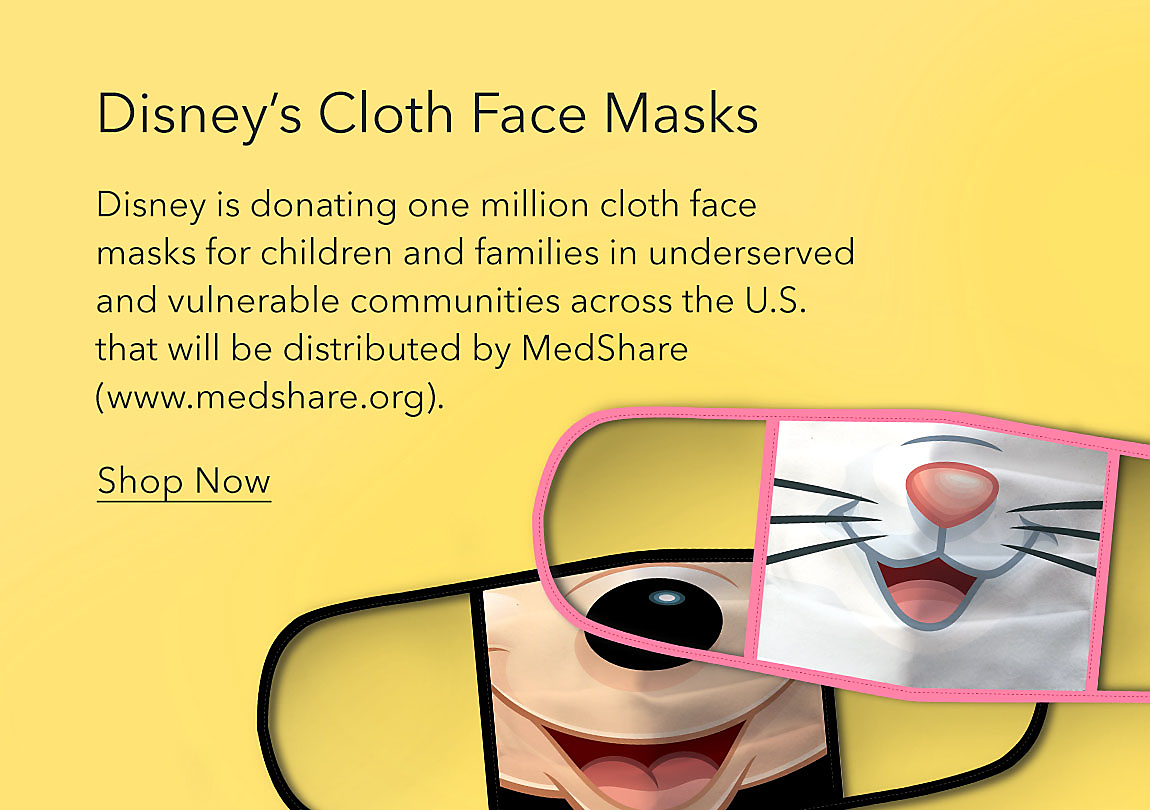 Disney's Cloth Face Masks featuring Mickey Mouse and Marie from Aristocats 4-pack. Disney is donating one million cloth face masks for children and families in underserved and vulnerable communities across the U.S. that will be distributed by MedShare (www.medshare.org).