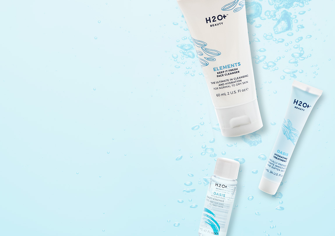 Free H2O+<br>Beauty 3-Step<br>Hydration System<br>with $60+ Purchase<br>use <b>Code: SPLASH</b>