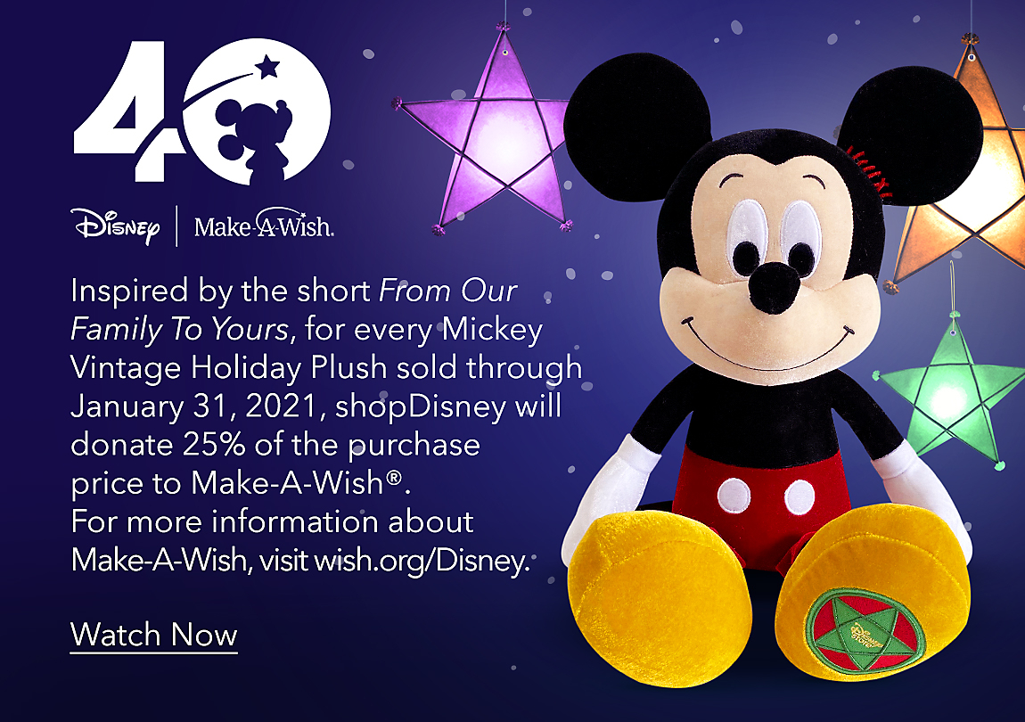 Inspired by the short Lola, for every Mickey Vintage Holiday Plush sold through January 31, 2021, shopDisney will donate 25% of the purchase price to Make-A-Wish®. For more information about Make-A-Wish, visit wish.org/Disney. Learn More
