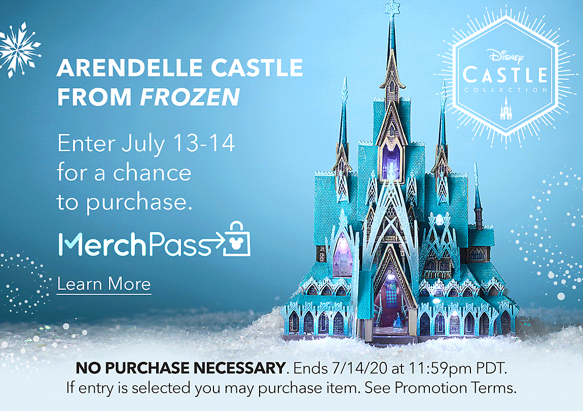 Arendelle Castle from Frozen Enter July 13-14 for a chance to purchase.  [MerchPass logo]  Learn More  NO PURCHASE NECESSARY. Ends 7/14/20 at 11:59pm PDT. If entry is selected you may purchase item. See Promotion Terms.