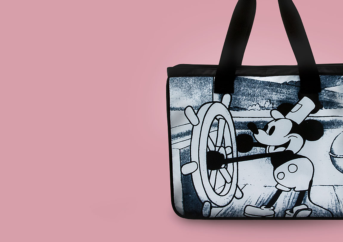 DISNEY BLACK MICKEY POCKET SHOPPING BAG