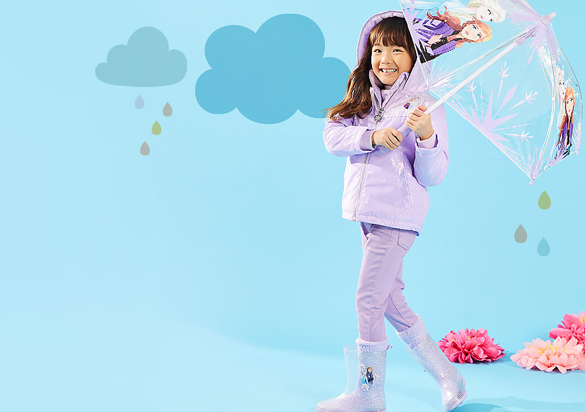 Background image of Rainwear collection featuring fun, new styles for girls.