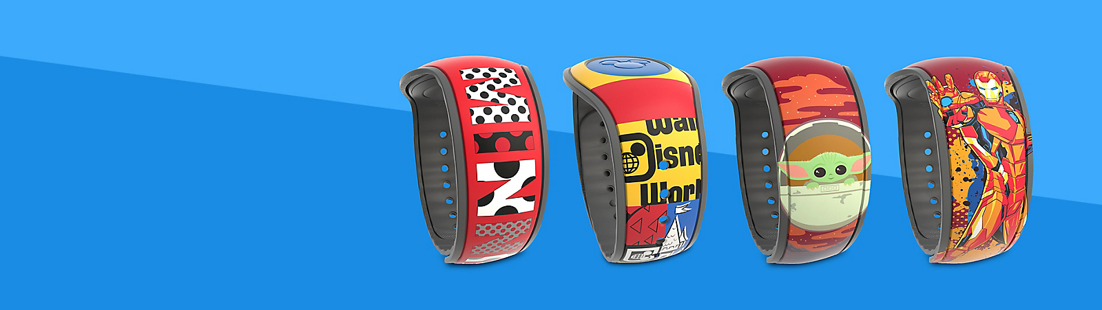 MagicBand featuring artworks inspired by Minnie Mouse; MagicBand featuring artworks inspired by Walt Disney World Dated 2021 Collection; MagicBand featuring The Child from The Mandalorian; MagicBand featuring Iron Man