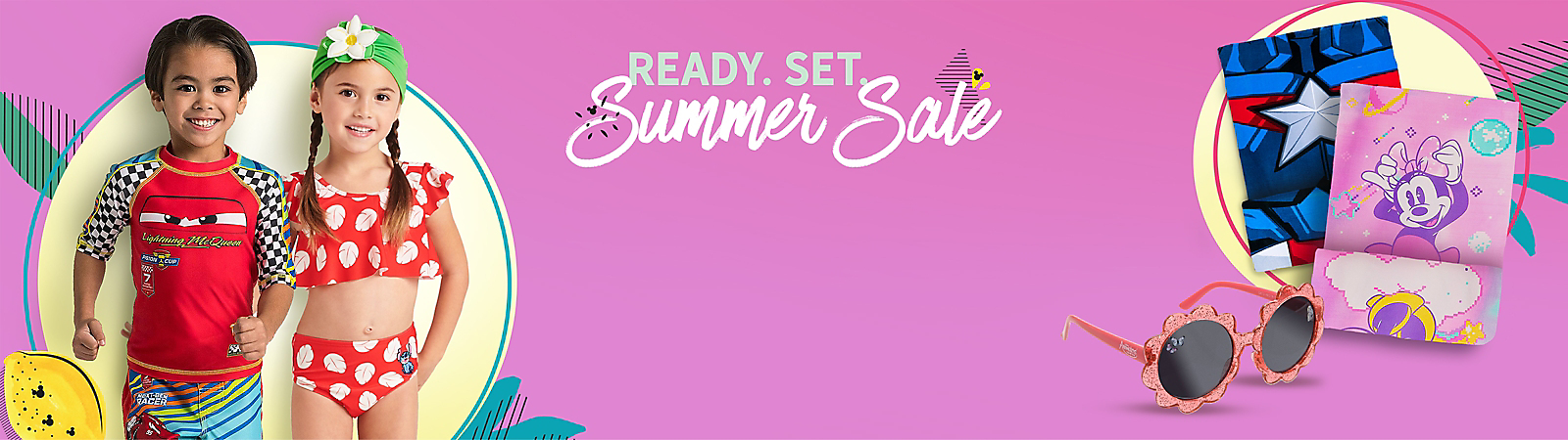 Ready. Set. Summer Sale Boy in Cars swimwear, girl in Little Mermaid swimwear Captain America towel, Minnie Mouse towel Flower-shaped sunglasses