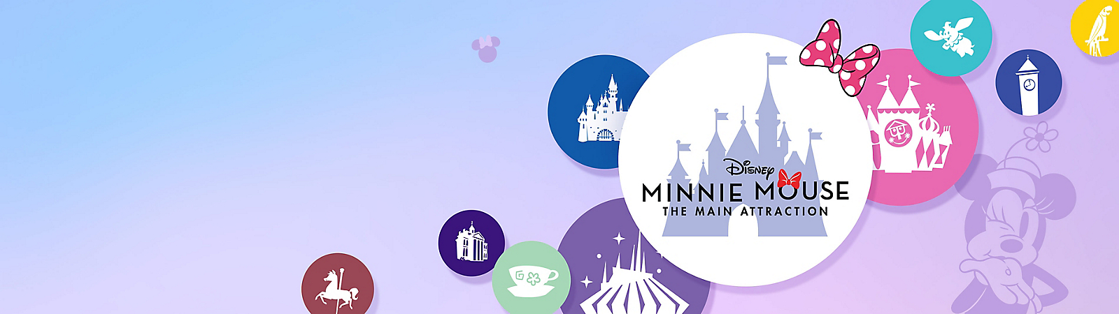 Minnie Mouse The Main Attraction logo with Disney Parks graphics including Castle and Space Mountain