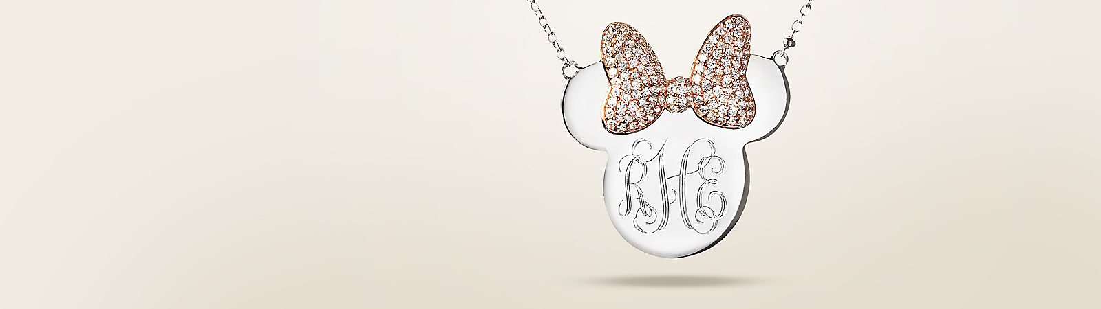 Minnie Mouse Monogram Necklace by Rebecca Hook