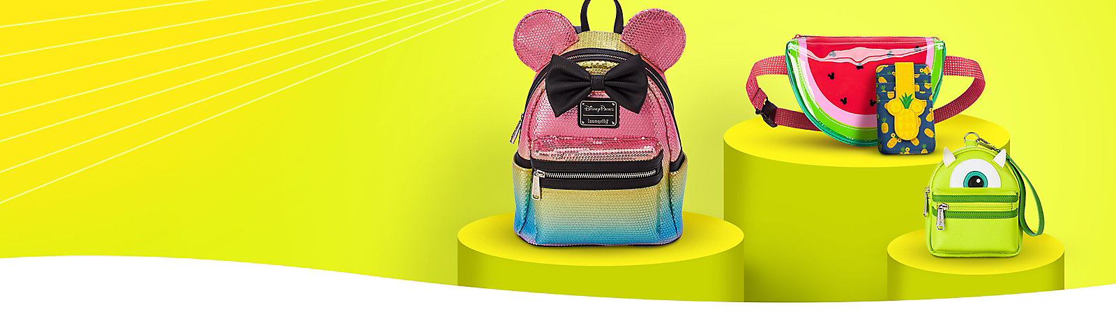Minnie Bow and ears sequin backpack Watermelon belt bag Pineapple wallet Mike Wazowski mini backpack wristlet