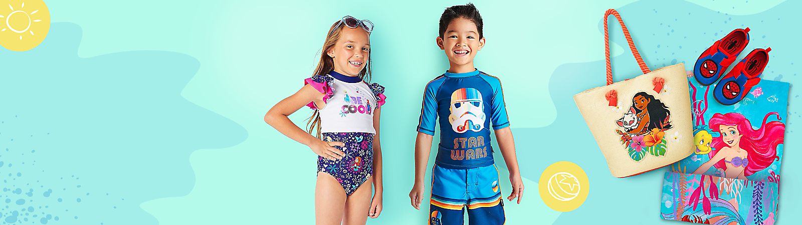 Boy in Star Wars Rashguard and Swim Shorts, Girl in Frozen Swimsuit Cover-Up, Swim Moana Tote Bag, Spider-Man Swim Shoes, Ariel from the Little Mermaid Towel