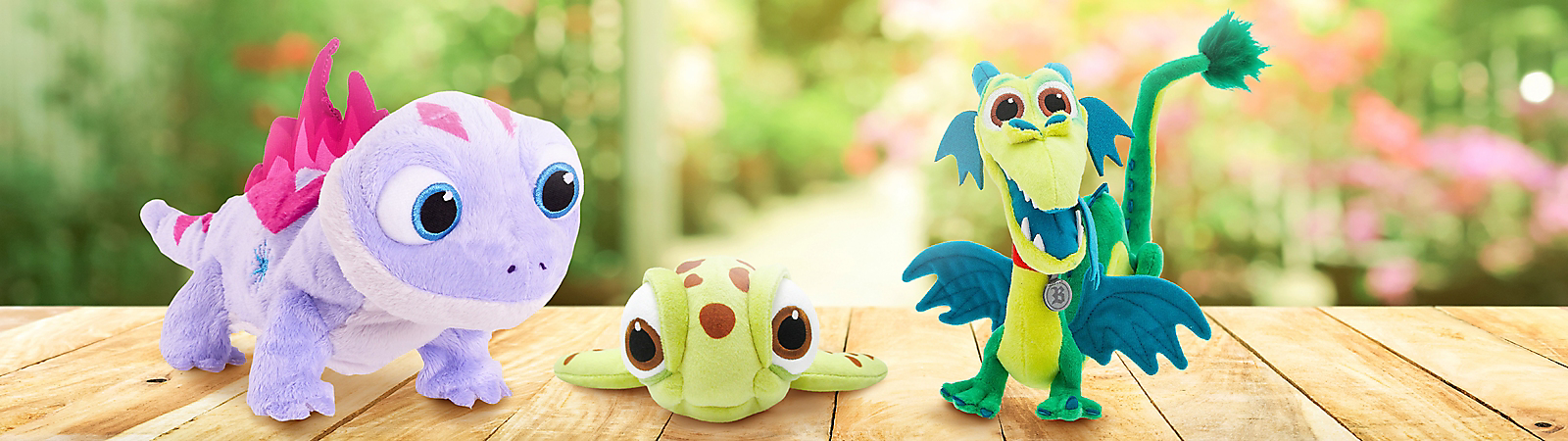 Finding Nemo's Squirt, Frozen 2's Bruni the Salamander, and Onward's Blazey Plush