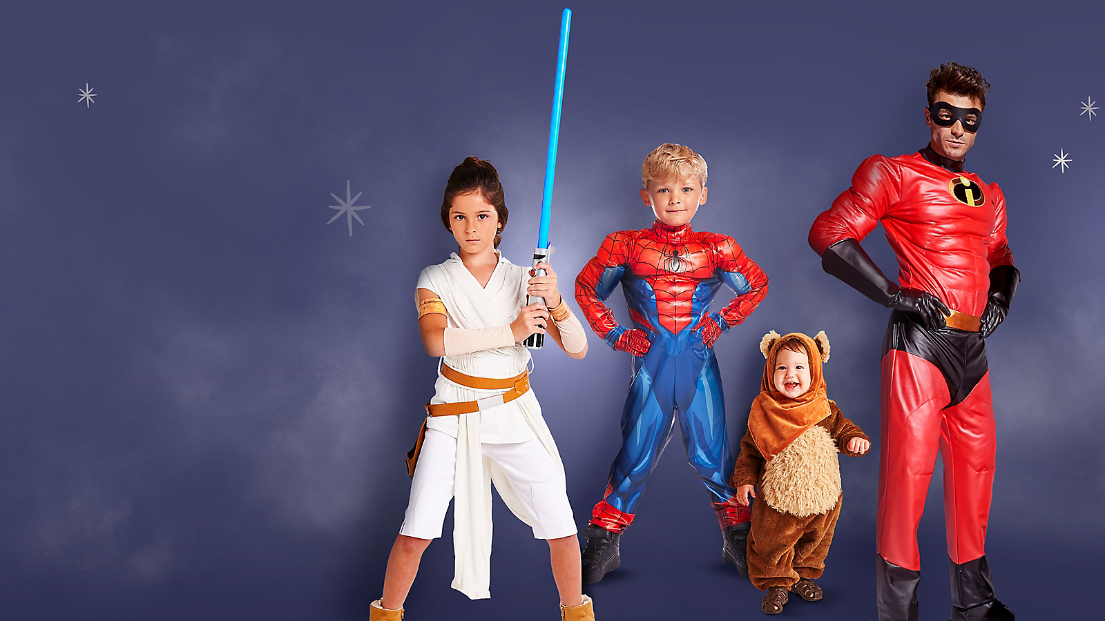 Girl in Rey costume with lightsaber Boy in Spider-Man costume Baby in Ewok costume Man in Mr. Incredible costume