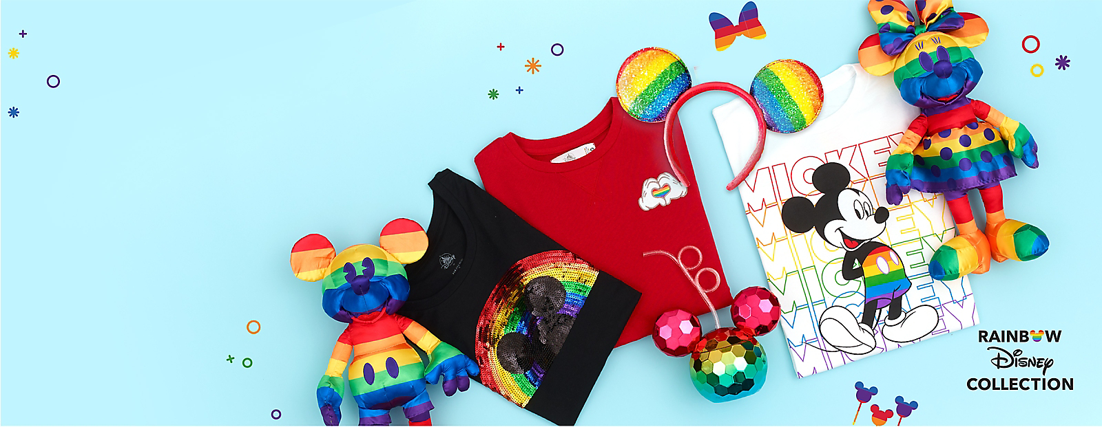 Rainbow colored Mickey plush, t-shirts, ear headband, cup and Minnie plush