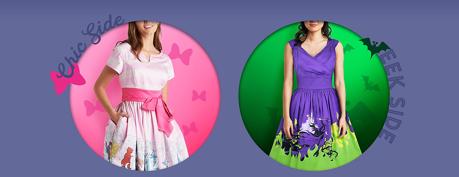 Chic Side Woman in Aristocats dress Eek Side Woman in Haunted Mansion dress